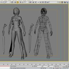 3ds Max 4 in {{subst:w|Wire-frame model|wireframe}} mode.