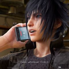 Noctis speaking on his smartphone in <i>Tekken 7</i>.