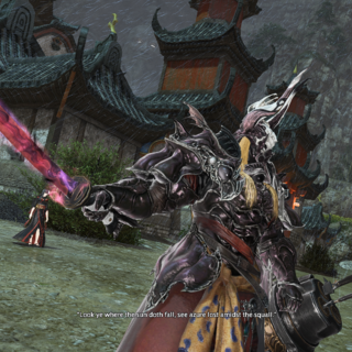 Zenos with his new katana.