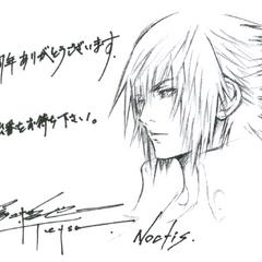 Esboço feito por Tetsuya Nomura para o evento <i>Final Fantasy 25th Anniversary</i> em Tóquio.
