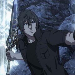 Noctis empunhando uma das armas de seu Armiger.
