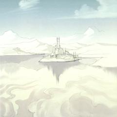 Artwork of Baron Castle from a distance, from the <i>Final Fantasy IV</i> official novelization.