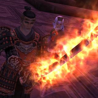 La katana de Tenzen influida con el poder de Fénix.