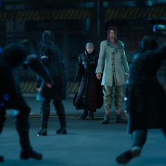 Ardyn and Verstael surrounded by the Royal Guard.