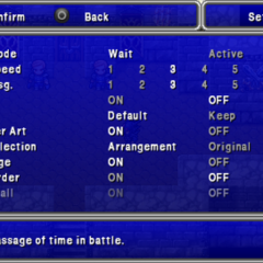 Settings in the PSP version.