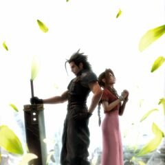 Promotional CG artwork of Zack and Aerith.
