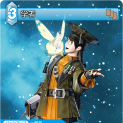 Trading card of a Hyur as a Scholar.