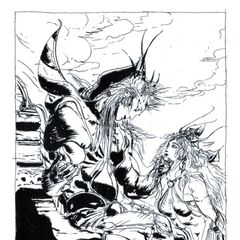 Artwork of Emperor with Princess Hilda drawn by Yoshitaka Amano for the <i>Final Fantasy II</i> novelization.