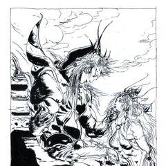 Artwork do Imperador com a Princesa Hilda desenhado por <i>Yoshitaka Amano</i> para o romance do <i>Final Fantasy II</i>