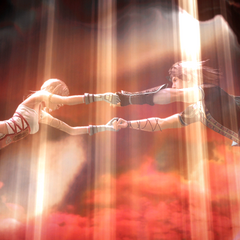 Noel sendo puxado para o céu por uma luz que parece ser o Portão de Etro.