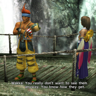 Wakka talking about Yuna's visitors.
