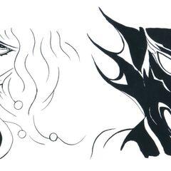 Cecil e Kain por Yoshitaka Amano para o <i>Final Fantasy IV</i> (GBA).