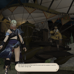 Bremondt helps the Warrior of Light, Alphinaud, and Pipin escape with his chocobo carriage.