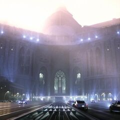 Concept art depicting the Kingdom of Lucis's exterior.