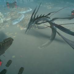 Leviathan surrounded by airships.
