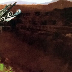 An artwork of a Crashed Airship on Eremite Plains.