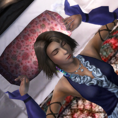 Yuna sleeping while wearing Songstress dressphere.