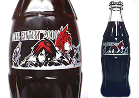 Final Fantasy 2000 Coca Cola Glass Bottle Japan Only Squall Cloud VII VIII