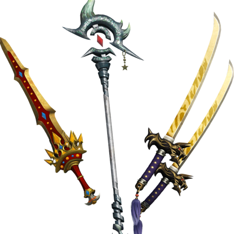 Royal Sword, Kotetsu, & Rune Staff.