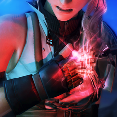 Lightning's l'Cie brand glows before summoning her Eidolon.