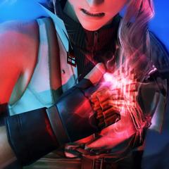 A marca l'Cie de Lightning brilhando antes dela invocar seu Eidolon.