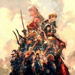 The Warrior of Light featured in the key visual of <i>Stormblood</i> as a Monk in the middle right.
