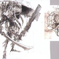 Obra de Gilgamesh de como ele iria aparecer em <i>Final Fantasy XIII</i>.