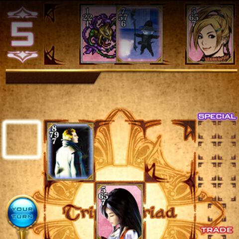 O novo <i>Triple Triad</i> com cartas dos personagens da série <i>Final Fantasy</i>.