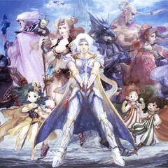 Artwork of Whyt on Rydia's shoulder, alongside the rest of the <i>Final Fantasy IV</i> cast by Airi Yoshioka (DS).