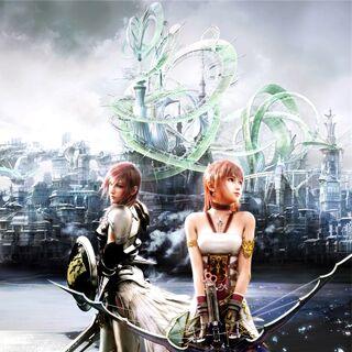 Uma imagem promocional com Serah e Lightning em Valhalla.