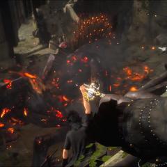 Noctis e seus amigos atacando Deadeye em seu covil.