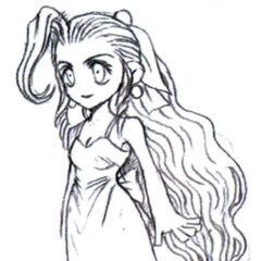 Концепт-арт Аэрис в платье с рында у Стены.
