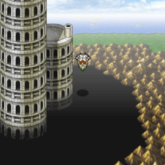 Tower of Babil on the overworld world map (PSP).