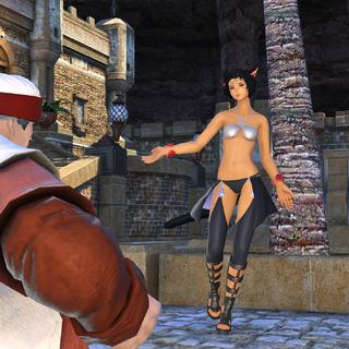 A dancing miqo'te in Vesper Bay.