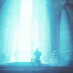 Column of light in Nald'thal's stone in End of an Era cutscene.