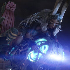 Fran on her hoverbike in <i>Final Fantasy XII</i>.
