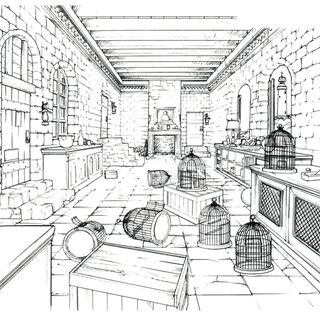Concept art of a room with bird cages.