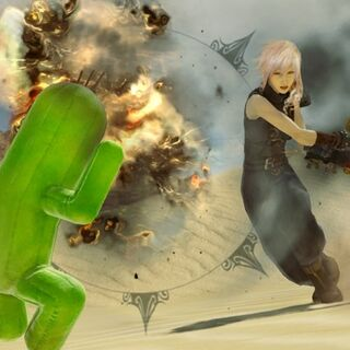 Lightning battling a Cactuar.