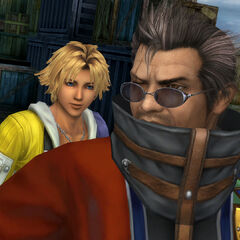 Tidus and Auron in <a href=
