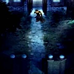 Zack leaving the mansion with Cloud in <i>Before Crisis -Final Fantasy VII-</i>.
