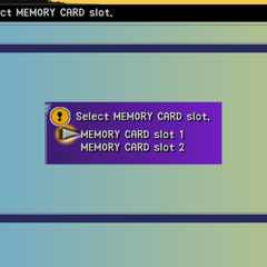 Memory card selection menu.