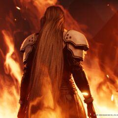 Cloud's flashback to the scene in <i>Final Fantasy VII Remake</i>.