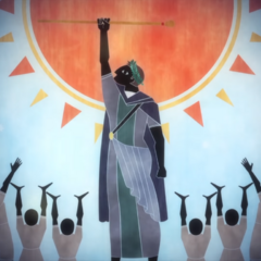 Somnus depicted as taking the throne in <i>Episode Ardyn — Prologue</i>.