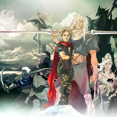 Artwork of the cast, featuring Dark Kain and the Hooded Man.