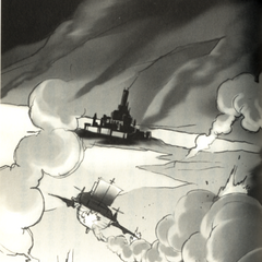 Artwork of the <i>Enterprise</i> making a crash landing at the Dwarven Castle, from the <i>Final Fantasy IV</i> official novelization.