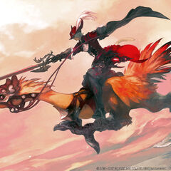 Artwork of a Red Mage riding a chocobo.