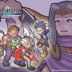 Wallpaper da versão <i>Soul of Rebirth</i> com Firion e seu grupo, contra Leon e o Imperador