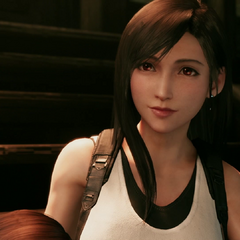 Tifa on the steps to her bar.