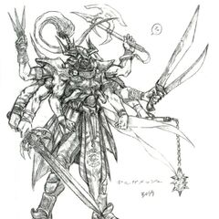 Arte de Gilgamesh em sua verdadeira forma para <i>Final Fantasy V</i>.