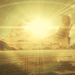 Cutscene for approaching the island with the royal vessel.
